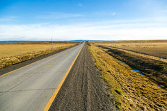 Empty road in the middle of Chilean Patagonia. In a beautiful blue sky day Royalty Free Stock Photography