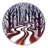 Empty road in the night through dark forest. vector illustration