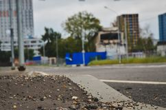 Empty road and modern office buildings stock image