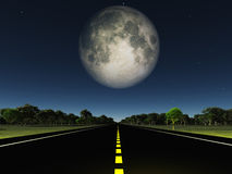 Empty road and moon Royalty Free Stock Photos