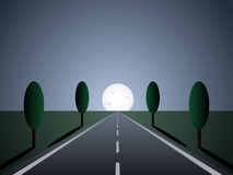 Empty road - moon light Stock Photo