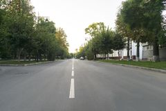 An empty road in the morning stock images