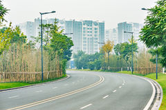 Empty road at morning foggy time. Royalty Free Stock Photos