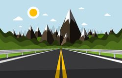Empty Road with Mountains and Hills on Background. Sunny Day Cartoon with Highway. Hollidays Jurney Destination Design stock illustration