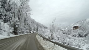 Empty road in the mountains during winter with snow covered trees on the side. stock video footage