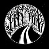 Empty road in the night through dark forest. Royalty Free Stock Images