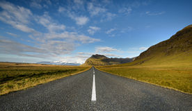 Empty road. One of the many desolate stretch of iceland Royalty Free Stock Images