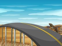 Empty road over the field. Illustration Stock Photo