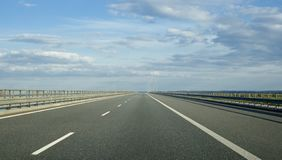 An empty european highway on a cloudy day royalty free stock photo