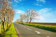 Empty road scenery with a blue horizont Stock Photo