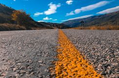 Empty road and scenic landscape in New Zealand, low angle view.  royalty free stock photos
