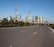 Empty road with Shanghai Lujiazui city buildings Stock Photography