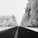 Empty road with snow covered landscape. Beautiful winter seasonal background for transport and cars. Royalty Free Stock Photo