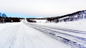 Empty road with snow Stock Photography