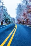 Empty road with snow on treess. Empty road with snow on trees and cloudy Stock Photography