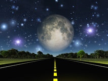 Empty road and stars Stock Images
