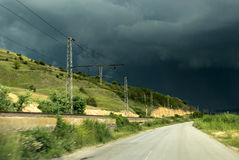Empty road and storm sky Royalty Free Stock Photos