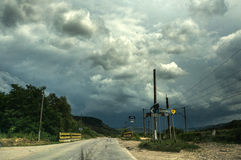 Empty road and storm sky Royalty Free Stock Photography