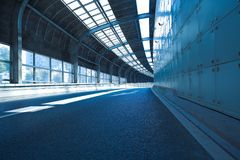 Tunnel inside of empty road surface floor Royalty Free Stock Images
