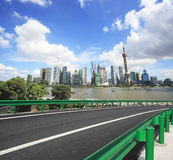 Empty road surface with shanghai bund city buildings Stock Photography