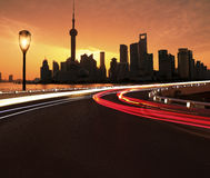 Empty road surface with Shanghai Lujiazui city buildings Dawn Royalty Free Stock Image