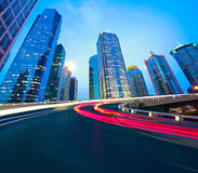 Empty road surface with shanghai lujiazui city buildings Stock Photography