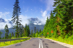 Empty road in Tatra mountains Royalty Free Stock Photos