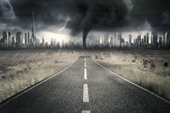 Empty road with thunderstorm at sky Royalty Free Stock Image