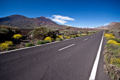 Empty road to Teide. Royalty Free Stock Images