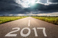 Empty road to upcoming 2017 against the big cloud Royalty Free Stock Photography