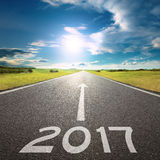 Empty road to upcoming 2017 at beautiful day Royalty Free Stock Images