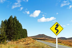 Empty road and traffic sign Stock Photography