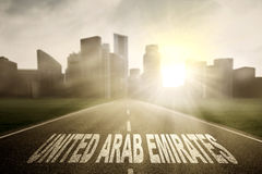 Empty road with United Arab Emirates word Royalty Free Stock Photography