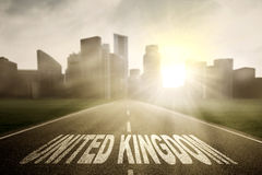 Empty road with United Kingdom word Stock Image