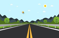Empty Road Vector Illustration with Hills. On Background vector illustration