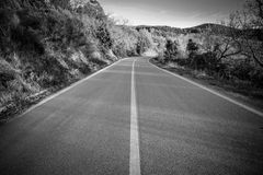 Empty road wide angle photography. Stock Image