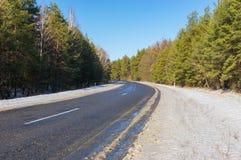 Empty road at winter season Royalty Free Stock Photos