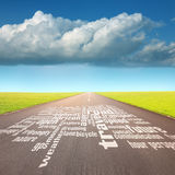 Empty road with word cloud at sunny day Royalty Free Stock Photos