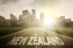 Empty road with word of New Zealand Royalty Free Stock Image