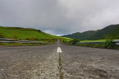 Empty roads in the countryside - Azores - Portugal Royalty Free Stock Photo