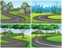 Empty roads through park and city. Illustration Stock Image