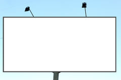 Empty roadside billboards against blue sky Royalty Free Stock Images