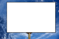 Empty roadside billboards against blue sky with clouds Stock Images