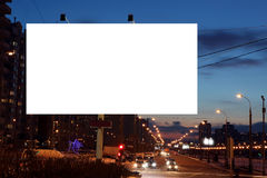 Empty roadside billboards at evening city Royalty Free Stock Images