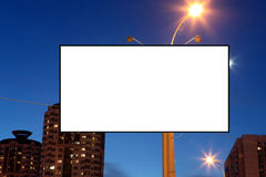 Empty roadside billboards at evening city Stock Photo