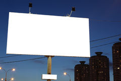 Empty roadside city billboards at evening Royalty Free Stock Images