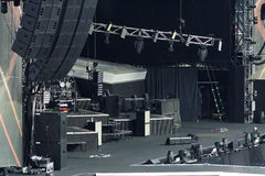 Empty rock concert stage. Large empty rock concert stage royalty free stock photo