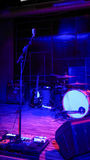 Empty rock concert stage with musical instruments Royalty Free Stock Photo