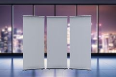 Empty roll up banner. 3d rendering empty roll up banner with office background Stock Photos
