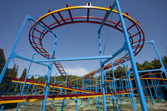 Empty Roller Coaster under the blue sky Royalty Free Stock Photo